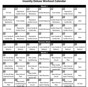Insanity Calendar