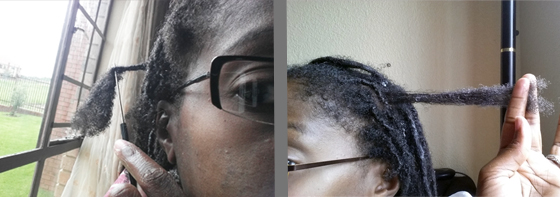 Left: Picking the hair out. Right: The end result.